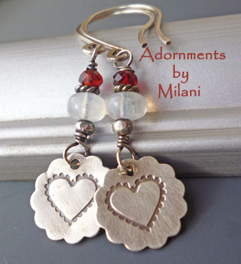 Valentine Heart Earrings with Moonstone & Garnet Gemstones